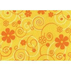 Pannolenci stampato curly flower giallo mais/arancio e bianco