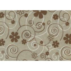 Pannolenci stampato curly flower beige/marrone e bianco