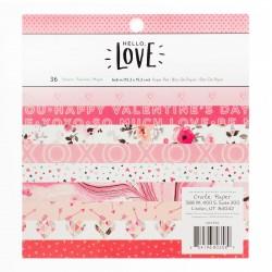 """Paper Pack """"Hello love"""" 36 fogli monofacciali (15,2x15,2cm)"""