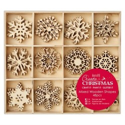 Large Mixed Wooden Shapes (48pz) - Snowflakes