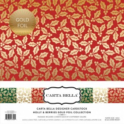 "Carta Bella Hollies & Berries 12""x12"" Gold Foil Collection"