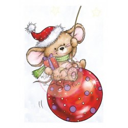 Timbro Clear Stamp Wild Rose Studio Mouse on Bauble