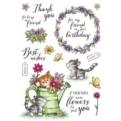 Set  Timbri Clear Stamp Wild Rose Studio Cat's in the Garden