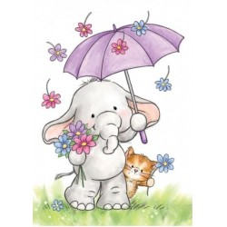 Timbro Clear Stamp Wild Rose Studio Bella with umbrella