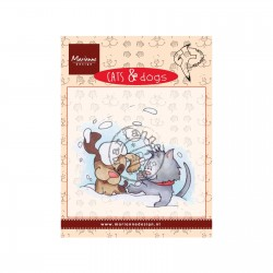 Timbro Marianne Design clear stamps Cat and Dog snow fun