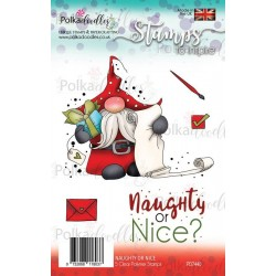 Timbri Polkadoodles Gnome Naughty or Nice Clear Stamps