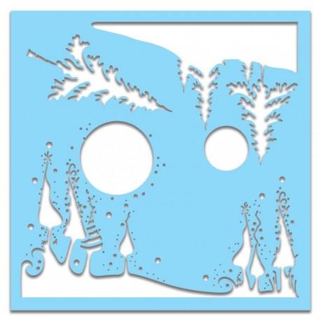 "Stencil Polkadoodles Christmas Landscape 6x6"""