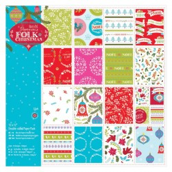 "12 x 12"" Doubled Sided Paper Pack Linen (32pz) - Folk Christmas"