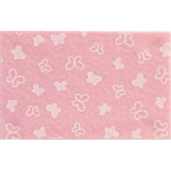 Pannolenci stampato Farfalle rosa pastello/bianco