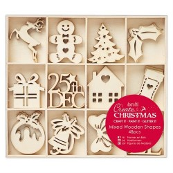 Large Mixed Wooden Shapes (48pz) - Christmas Icons