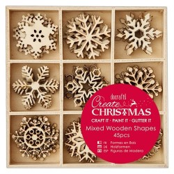 Small Mixed Wooden Shapes (45pz) - Snowflakes