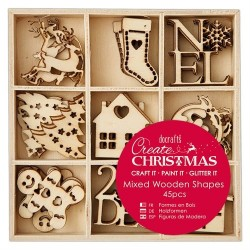 Small Mixed Wooden Shapes (45pz) - Christmas Icons