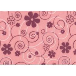 Pannolenci stampato curly flower rosa pastello/lilla e bianco