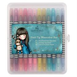 Pennarelli Watercolour Dual-tip Pens (12pz) - Santoro - Brights