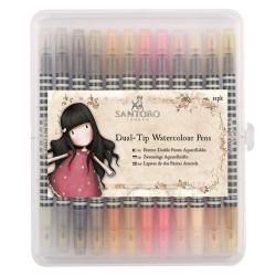 Pennarelli Watercolour Dual-tip Pens (12pz) - Santoro - Neutrals