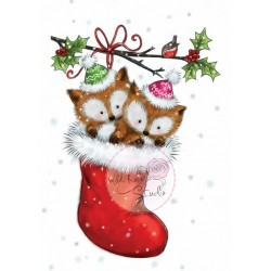 Timbro Clear Stamp Wild Rose Studio Foxes in Stocking