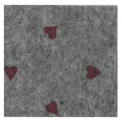 Pannolenci cuori grigio melange/rosso