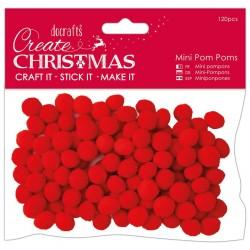 Papermania Create Christmas Mini Pom Poms Red 120pz