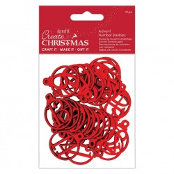 Papermania Create Christmas Advent Number Baubles Red 25pz