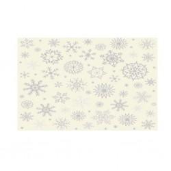 Pannolenci stampato fiocchi d neve panna/argento
