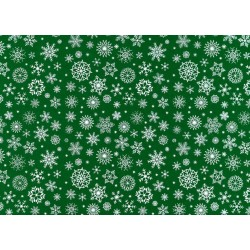 Pannolenci stampato fiocchi d neve verde scuro/bianco