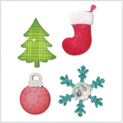 Sizzix Bigz Die - Christmas Tree, Ornament, Snowflake & Stocking