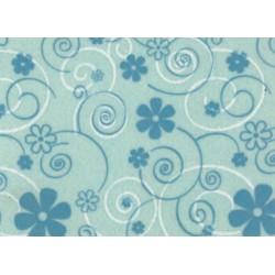 Pannolenci stampato curly flower celeste/azzurro e bianco