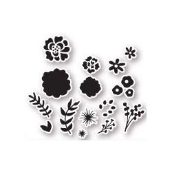 Set timbri la coppia creativa fiori delicati