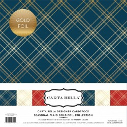 "Carta Bella Seasonal Plaid 12""x12"" Gold Foil Collection"