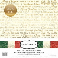 "Carta Bella Holiday Sentiments 12""x12"" Gold Foil Collection"