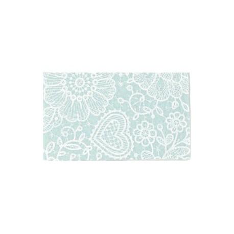 Pannolenci stampato Pizzo Celeste/bianco