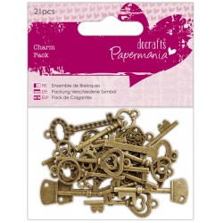 Papermania Charm Pack (21pcs) -  Vintage Keys