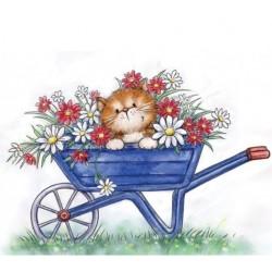 Timbro Clear Stamp Wild Rose Studio Cat in Wheelbarrow
