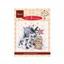 Timbro Marianne Design clear stamps Cat and Dog tree decorating