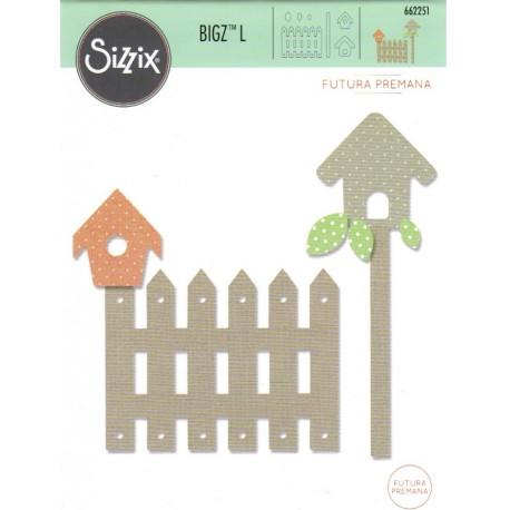 """Sizzix Bigz L Die  """"Futura Premana"""" - Recinzione, casetta per uccelli e foglie"""