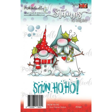 Timbri Polkadoodles Gnome Snow Ho Ho Clear Stamps
