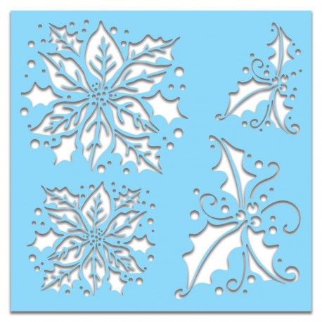 "Stencil Polkadoodles Poinsettia Holly 6x6"""