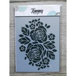 Stencil Tommy Design A6 - Rose e Fiorellini