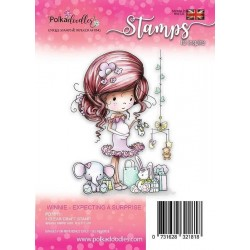 Timbro Polkadoodles Winnie Expecting a Suprise Clear Stamp