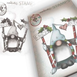 Timbro Polkadoodles Gnome Decorating The Tree Clear Stamp