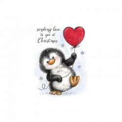 Timbro Clear Stamp Wild Rose Studio penguin with heart