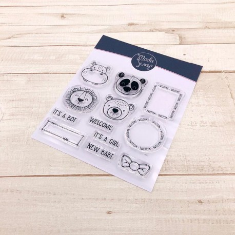 CLEAR STAMPS MODASCRAP - POSTAGE NEW BABY