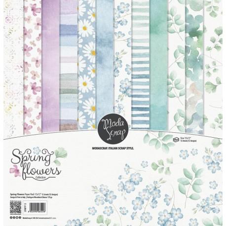 Paper pack Modascrap SPRING FLOWERS 15x15cm