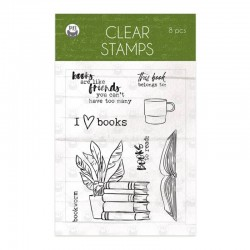 TIMBRI P13 PIATEK CLEAR STAMP SET THE GARDEN OF BOOKS 8PCS