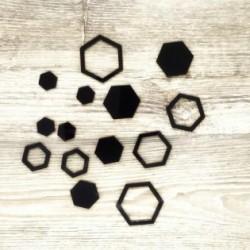 Esagoni - Abbellimenti in acrilico nero - Krea
