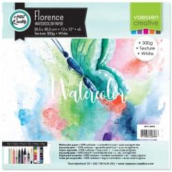 Florence • Carta per acquerello texture Bianco 300g 30,5x30,5cm 5fogli