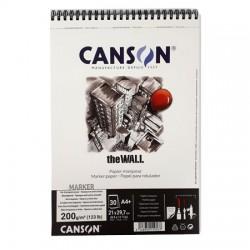 Blocco di carta per pennarelli ad alcool Canson The Wall A4, 200 gr.30 fogli
